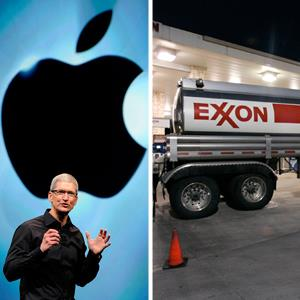 Apple CEO Tim Cook and an Exxon gasoline tanker. © Bloomberg via Getty Images © Donna McWilliam/AP