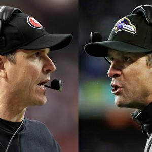 San Francisco 49ers head coach Jim Harbaugh, left, in Atlanta, and Baltimore Ravens head coach John Harbaugh in Foxborough, Mass., during their NFL football conference championship games ( Mark Humphrey, Matt Slocum/AP Photo)