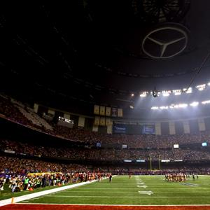 A general view of the Mercedes-Benz Superdome after a sudden power outage that lasted 34 minutes in the second half of Super Bowl XLVII ( Al Bello/Getty Images)