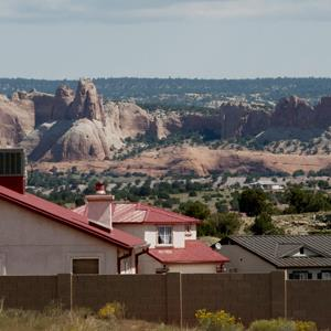 Houses on the Navajo Nation reservation in Window Rock, Arizona on Sept. 7, 2011 (Laura Segall/Bloomberg via Getty Images)