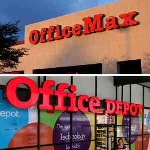 Office Max: © Joshua Lott/Newscom/Reuters. Office Depot; Jeff Chiu/AP Photo)
