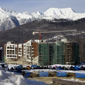 Buildings of the Olympic village are seen under construction in Rosa Khutor, just east of Sochi, Russia, on Feb. 6, 2013 (Ivan Sekretarev/AP Photo)
