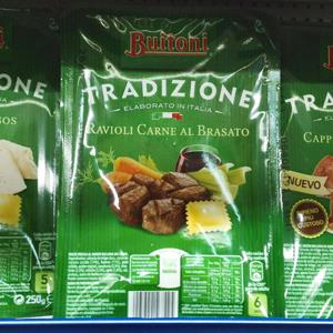 Packages of Buitoni meat ravioli are pictured on display on a supermarket shelf in Madrid on February 19, 2013 (Paul Hanna/Newscom/Reuters)