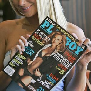 Playmate Sara Jean Underwood holds a copy of the June 2007 issue of Playboy magazine (© Mary Altaffer/AP Photo)