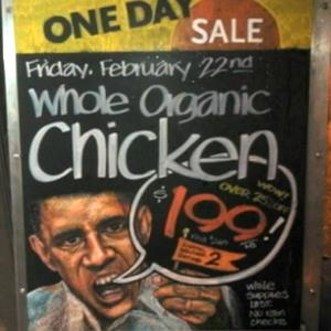 Whole Foods' chicken ad featuring Obama outrages neighbors (&#169; NBC 4 New York, http://bit.ly/YdqdbX)