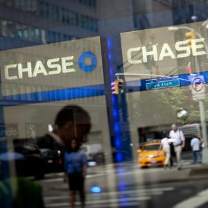 JPMorgan Chase &amp; Co. signage at a bank branch in New York on July 6, 2012 ( Scott Eells/Bloomberg via Getty Images)