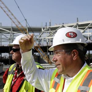 Project executive Jack Hill, right, and general superintendent Dave Masel at the 49ers new Santa Clara Stadium on Sept. 25, 2012 (© Marcio Jose Sanchez/AP Photo)