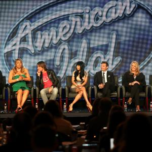 American Idol judges speak onstage during the 2013 Winter TCA Tour at Langham Hotel on January 8, 2013 in Pasadena, Calif. (Frederick M. Brown/Getty Images)