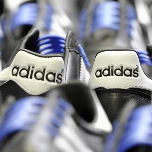 Adidas soccer shoes at the company's factory in Scheinfeld, Germany, on February 23, 2011 (© Guenter Schiffmann/Bloomberg via Getty Images)