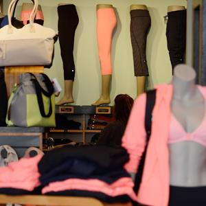 Clothing made by Lululemon Athletica Inc. on display for sale on March 19, 2013 in Pasadena, California ( Kevork Djansezian/Getty Images)