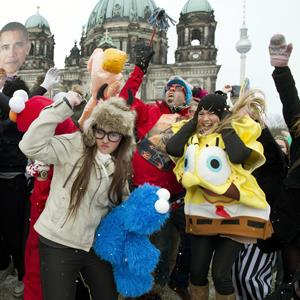 Flashmob dancers participate in the Harlem Shake in front of the Berlin Cathedral in Germany on February 20, 2013 (JOHN MACDOUGALL/AFP/Getty Images)