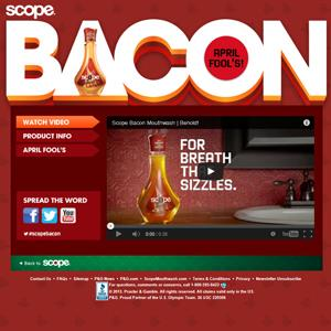 Screenshot from Procter & Gamble's April Fool's Scope Bacon Mouthwash webpage (© Procter & Gamble)