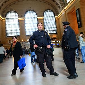 Two policemen patrol inside Grand Central station in New York on April, 16, 2013 ( EMMANUEL DUNAND/AFP/Getty Images)