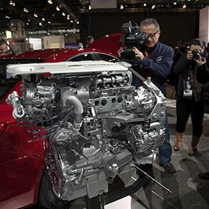 The Chevrolet Cruze Clean Turbo Diesel engine makes its debut at the Chicago Auto Show on February 7, 2013 ( John Gress/Newscom/Reuters)