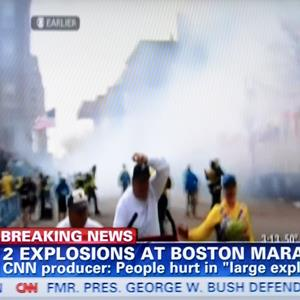 Video still of CNN taken on April 15, 2013 shows explosions at the Boston (© Wang Lei/Xinhua Press/Corbis)