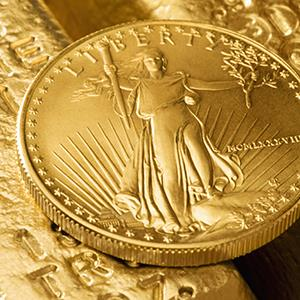 Front side of an American Eagle gold coin (copyright Jose Luis Pelaez/Photodisc/Getty Images)