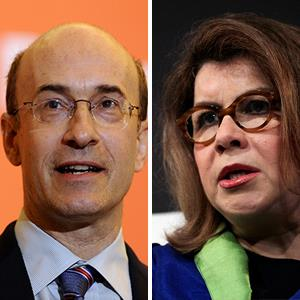 Carmen Reinhart in Sept. 2012; Kenneth Rogoff in July 2010 (© Jin Lee/Bloomberg via Getty Images; Munshi Ahmed/Bloomberg via Getty Images)