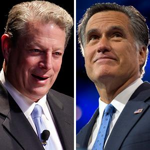 Photo illustration of Al Gore (left) and Mitt Romney (© Arnulfo Franco, Jacquelyn Martin/AP)