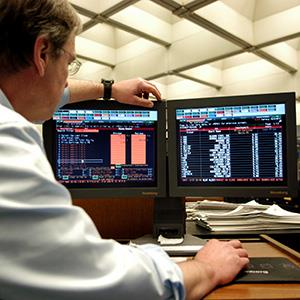 File photo of a Bloomberg News terminal in the Toronto Star newsroom on Jan. 17, 2006 (© Carlos Osorio/Toronto Star via Getty Images)