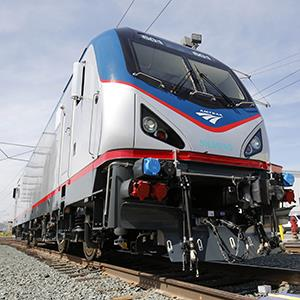One of the new Amtrak Cities Sprinter Locomotives built by Siemens Rails Systems in Sacramento, Calif. on May 11, 2013 (© Rich Pedroncelli/AP Photo)