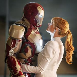 Robert Downey Jr., as Iron Man, and Gwyneth Paltrow in Iron Man 3 (© W.Disney/Everett/Rex Features)