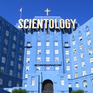 View of the Church of Scientology building in Los Angeles, California