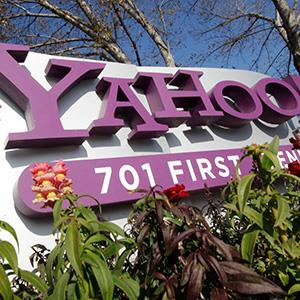 File photo of the Yahoo company logo, displayed at Yahoo headquarters in Sunnyvale, Calif. on Jan. 4, 2012 (© Paul Sakuma/AP)