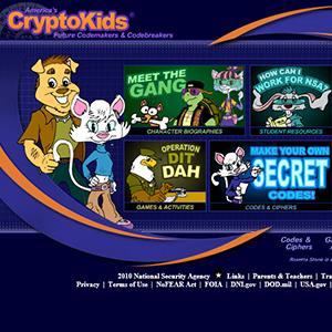 Screenshot of the kid's section of the NSA's website (© National Security Agency)