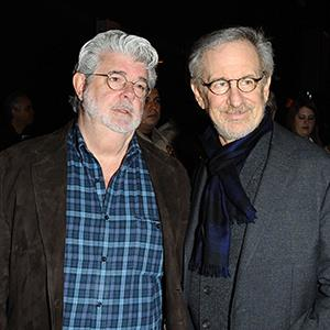 File photo of George Lucas and Steven Spielberg in Los Angeles on Feb. 5, 2013 (© Startraks Photo/Rex Features)