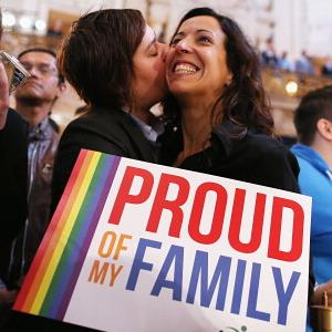 A couple celebrates upon hearing the U.S. Supreme Court's rulings on DOMA/gay marriage in San Francisco, Calif., on Wednesday (© Justin Sullivan/Getty Images)