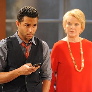 Publicity photo released by The Online Network showing actors Corbin Bleu and Erika Slezak on the set of