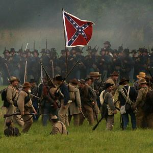 Reenactors during the 150th anniversary of the Battle of Gettysburg, on Friday, in Gettysburg, Pa. (© Matt Rourke/AP)