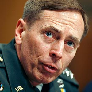 File photo of retired General David Petraeus speaking to the Senate Armed Services Committee on Capitol Hill in Washington on April 8, 2008 (© Joshua Roberts/Newscom/Reuters)