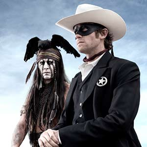 Johnny Depp as Tonto and Armie Hammer as John Reid in The Lone Ranger (© Disney and Jerry Bruckheimer, Inc.)