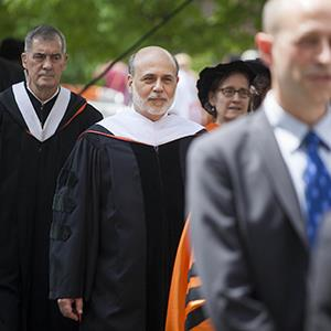 Ben Bernanke walks in a processional to deliver the commencement speech to graduates at Princeton University in Princeton, New Jersey on Sunday, June 2, 2013 (© Michael Nagle/Bloomberg via Getty Images)