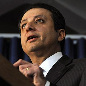 File photo of Preet Bharara on Jan. 18, 2012 (© Peter Foley/Bloomberg via Getty Images)