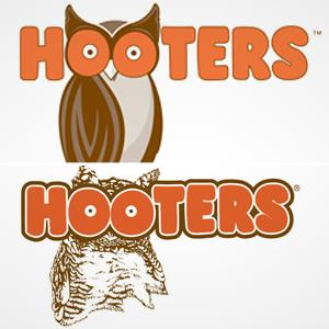 Image: (From top) New Hooters logo & old Hooters logo (© Hooters)