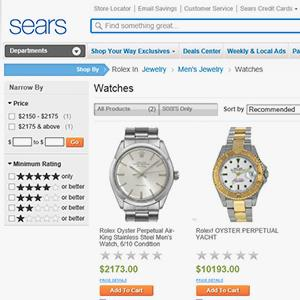 Rolex watches for sale on Sears website (© Sears Brands)