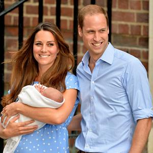 Catherine Duchess of Cambridge & Prince William with their newborn son outside St Mary's Hospital, in London, on Tuesday (© Nils Jorgensen/Rex Features)