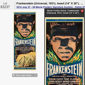 Screenshot from the Heritage Auctions website featuring the Frankenstein movie poster from 1931 (© Universal via Heritage Auctioneers & Galleries, Inc.)