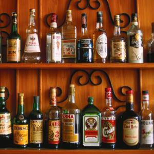 Bottles on Shelves in Bar
