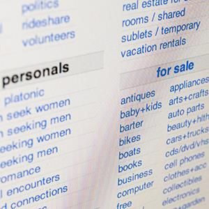 Classified ads on Craigslist website (© Alex Segre/Rex Features)