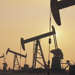 Oil derricks (© Comstock/Corbis)