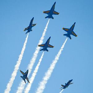 The U.S. Navy's Blue Angels perform over the Florida Keys on March 23, 2013, in Key West, Fla. (© Rob O'Neal/Florida Keys News Bureau via Getty Images)