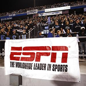 File photo of an ESPN banner during a game at Floyd Stadium on October 5, 2010 in Murfreesboro, Tennessee (© Joe Robbins/Getty Images)