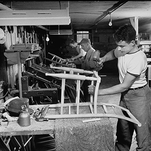 People at work in the Hitchcock chair factory on May 1, 1949 (© Martha Holmes/Time Life Pictures/Getty Images)