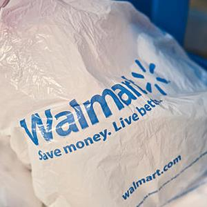 Walmart plastic shopping bags in shopping cart