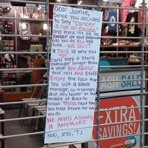 Note left at a Journeys shoe store in Rochester, NY (Via Imgur, http://aka.ms/journeys)