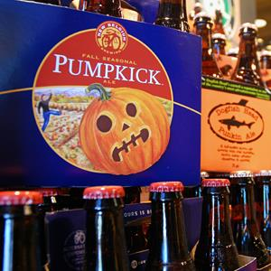 Pumpkin beers on display for sale at a Whole Foods Market in Richmond, Va., on August 30, 2013 (© Michael Felberbaum/AP)
