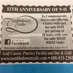 Tumbledown Trails Golf Course 9/11 promotional ad (Via http://aka.ms/GolfCourse911)